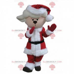 Weißes Lamm Hammel Maskottchen im Weihnachtsoutfit -