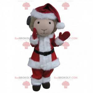 Mascot beige and black goat dressed as Santa Claus -