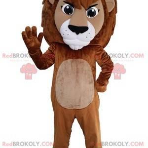 Gigantyczny brązowy i biały lew maskotka. Maskotka kotów -