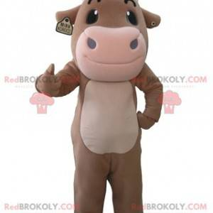 Obří hnědé a růžové kráva maskot - Redbrokoly.com