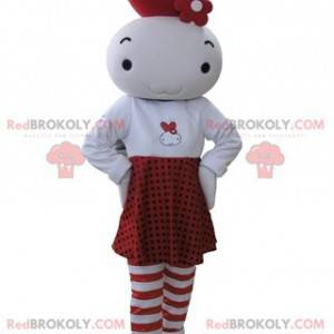 Maskot bílé a červené panenky - Redbrokoly.com