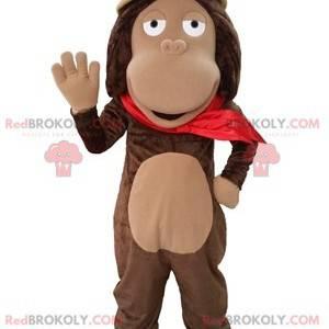 Brown monkey mascot with an explorer hat - Redbrokoly.com