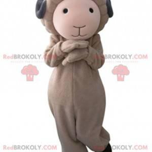 Mascote de cabra marrom e cinza fofo e suave - Redbrokoly.com