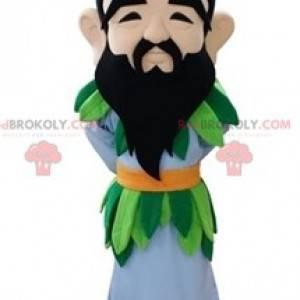 Bärtiges Mannmaskottchen mit einem bunten Outfit -