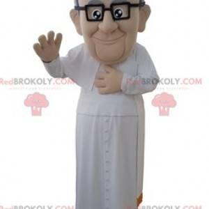 Maskot papeže v bílém náboženském oděvu - Redbrokoly.com