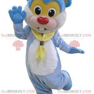 Riesiges und niedliches blaues Teddybärmaskottchen -