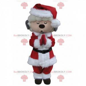 Bílé a šedé kozí maskot oblečený jako Santa Claus -