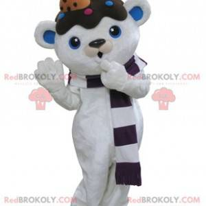 Mascot white and blue teddy bear with chocolate on the head -