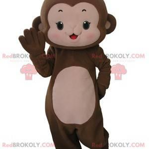 Velmi roztomilý hnědý a růžový maskot opice - Redbrokoly.com