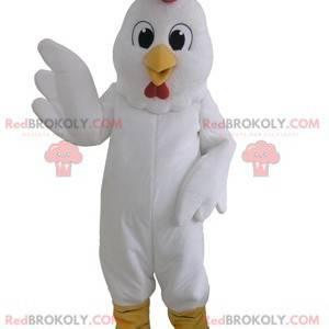 Riesiges weißes Hühnermaskottchen. Hahn Maskottchen -