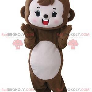Urocza i wzruszająca brązowa i różowa małpa maskotka -