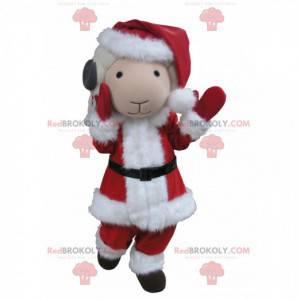 Mascotte di capra bianca e grigia vestita da Babbo Natale -