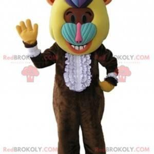 Brun babian-ape maskot med et fargerikt hode - Redbrokoly.com