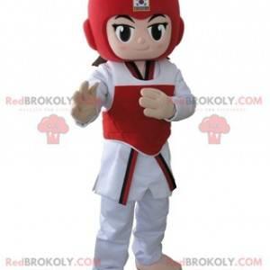 Dziewczyna taekwendoka maskotka w stroju taekwondo -