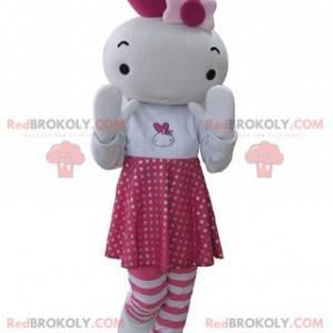 Růžový a bílý králík maskot panenka - Redbrokoly.com