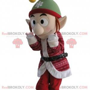 Elf mascot in Christmas outfit with pointy ears - Redbrokoly.com