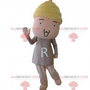 Maskot panenky růžové panenky se žlutými vlasy - Redbrokoly.com