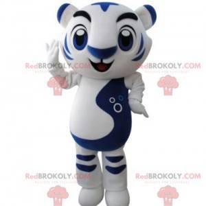 Very successful white and blue tiger mascot - Redbrokoly.com