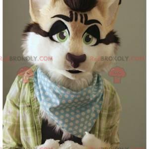 Maskot hezká kočka béžová bílá a černá - Redbrokoly.com