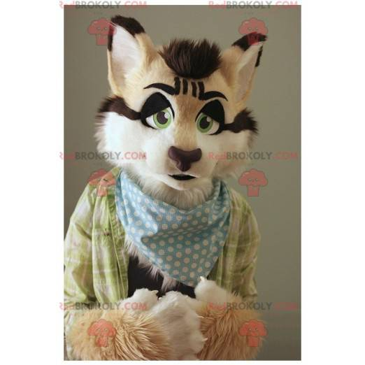 Maskottchen hübsche Katze beige weiß und schwarz -