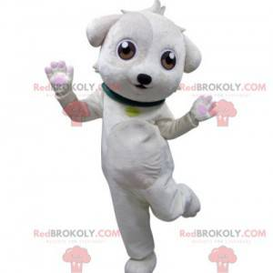 Hvit hundemaskot med grønn krage - Redbrokoly.com