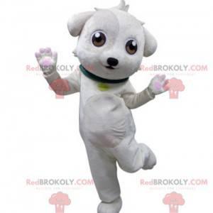 White dog mascot with a green collar - Redbrokoly.com