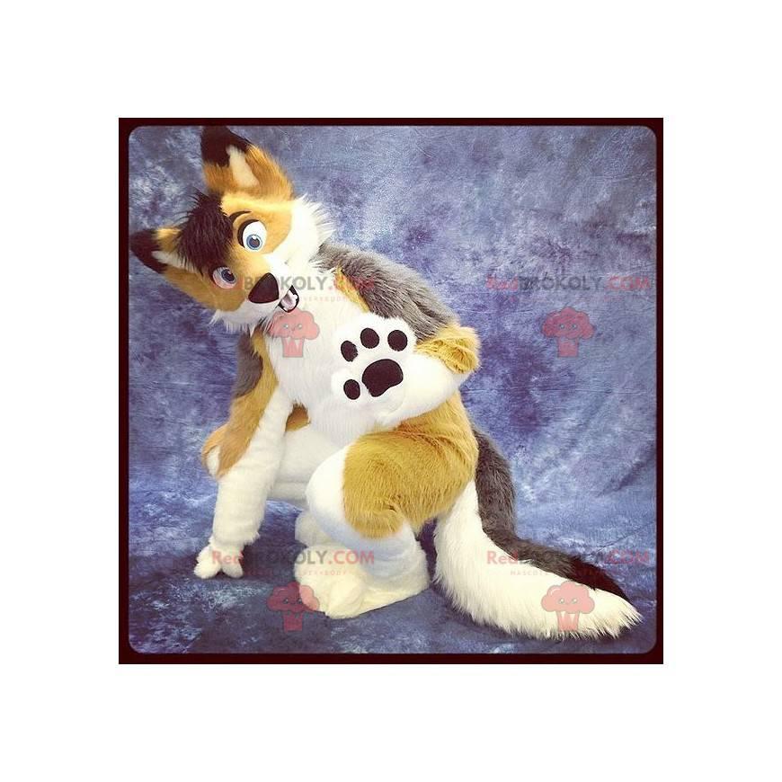 Pretty tricolor fox dog mascot - Redbrokoly.com