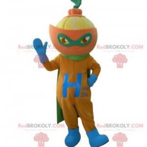 Mandarinenmaskottchen im Superhelden-Outfit - Redbrokoly.com