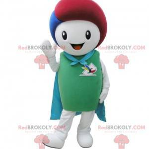 White and green snowman mascot with a cape - Redbrokoly.com