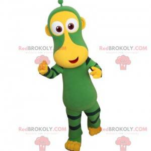 Zelené a žluté opice maskot. Futuristické zvířecí maskot -