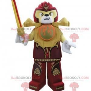 Lego Maskottchen gelber und roter Tiger mit einem Schwert -