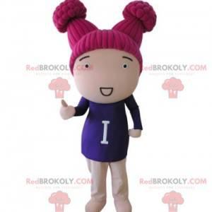 Mädchenpuppenmaskottchen mit rosa Haaren - Redbrokoly.com