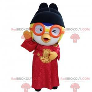 Ptačí maskot v asijském oblečení s brýlemi - Redbrokoly.com