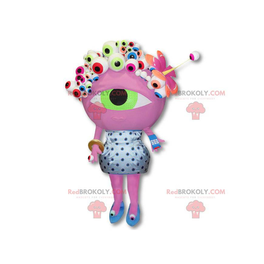 Numéricable Alien Maskottchen - Big Pink Eye Kostüm -