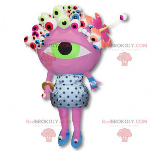 Numéricable alien maskot - Stor rosa øyedrakt - Redbrokoly.com