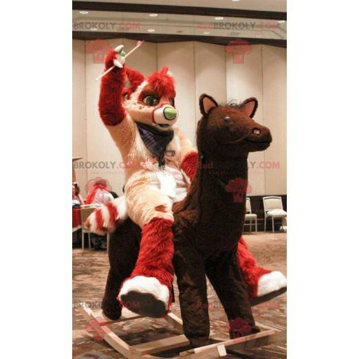 Maskot červená a krémová kočka - Redbrokoly.com