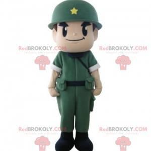 Vojenský maskot voják s uniformu a helmu - Redbrokoly.com