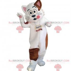 Weißes und braunes Katzenmaskottchen. Gourmet-Maskottchen -