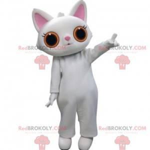 Weißes Katzenmaskottchen mit großen orangefarbenen Augen -