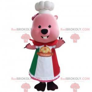 Maskotka różowy bóbr przebrany za szefa kuchni - Redbrokoly.com
