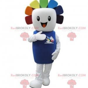 Maskot bílý sněhulák s barevnými vlasy - Redbrokoly.com