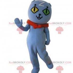Maskot kočka s očima na zdi. Modrý medvídek maskot -