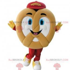 Very smiling giant pretzel mascot - Redbrokoly.com