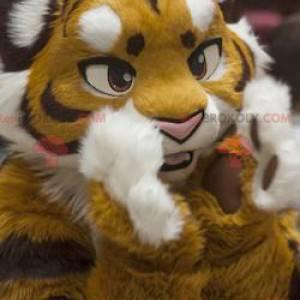 Black and white yellow tiger mascot - Redbrokoly.com