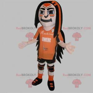 Maskot sportovní muž oblečený v oranžové a černé barvě -