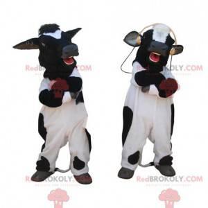 2 giant black and white cow mascots - Redbrokoly.com