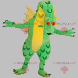 Veldig imponerende grønn og gul gigantisk drage maskot -