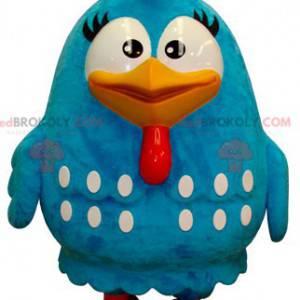 Velký obří modrý a bílý pták maskot - Redbrokoly.com