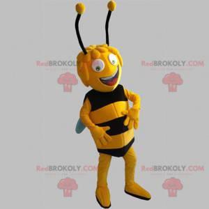 Maya das Bienenmaskottchen. Gelbe und schwarze Biene -