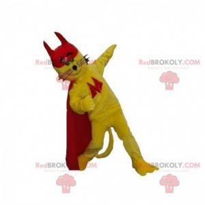 Maskot žluté kočky s pláštěm a červenou čepicí - Redbrokoly.com